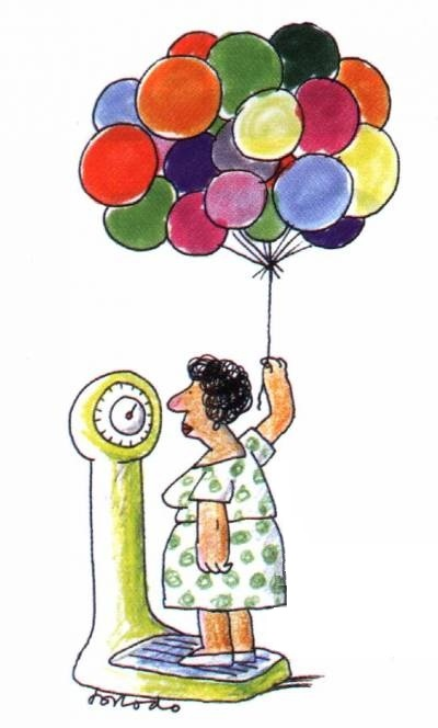 Woman weighing herself while holding ballons